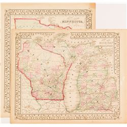 County Maps of Minnesota and Michigan/Wisconsin