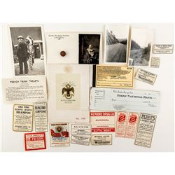 Butte Ephemera: Lot of 24 from labels to booklets to photographs to paper tokens