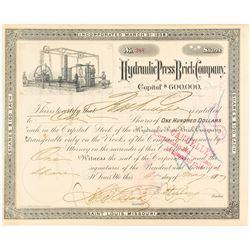 Hydraulic Press Brick Company Stock Certificate, St. Louis, Missouri