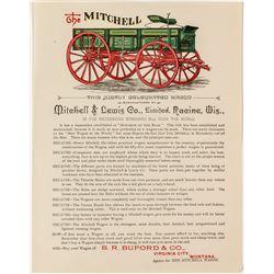 Brightly Colored Handbill for The Mitchell Wagon, Virginia City, Montana