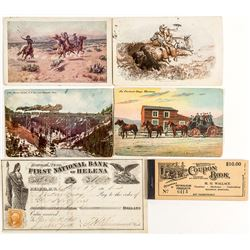 Gorgeous 1866 First National Bank of Helena Check and Other Ephemera