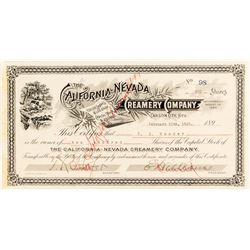 California-Nevada Creamery Co. Stock Certificate, 1893