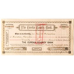 Eureka County Bank Stock Certificate, 1888 to Prominent Reno Banker