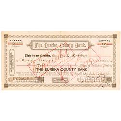 Eureka County Bank Stock Certificate, 1886 to Wells Fargo Agent