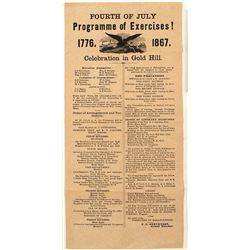 Gold Hill Broadside for 1867 4th of July Exercises