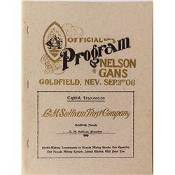 Reprint of Official Program Nelson vs. Gans Goldfield Fight