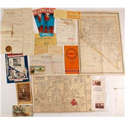 Nice Group of Nevada Ephemera (Maps, Brochures, Trade Cards, Etc.)