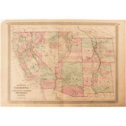 Johnson's Map of California, Utah, Nevada, Colorado, New Mexico and Arizona