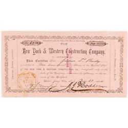 New York & Western Construction Company Stock Certificate, 1882