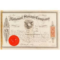 National Storage Company Stock Certificate, 1867