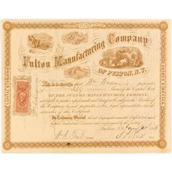 Fulton Manufacturing Company of Fulton, N. Y. Stock Certificate, 1868