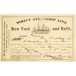 New York and West Indies Steamship Company Receipt, 1875
