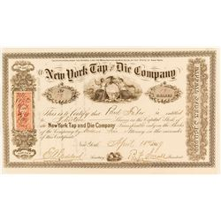 New York Tap and Die Company Stock Certificate, 1869