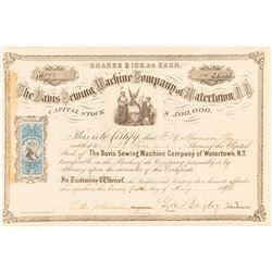 Davis Sewing Machine Company of Watertown N. Y. Stock Certificate, 1872