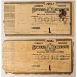 2 New York State Liquor Licenses (1909 and 1911)