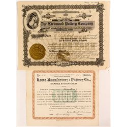 Two Pottery Company Stock Certificates