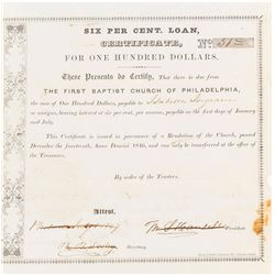First Baptist Church of Philadelphia Loan Certificate, 1846