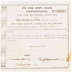 First Baptist Church of Philadelphia Loan Certificate, 1846