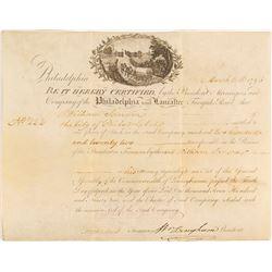 Rare Philadelphia and Lancaster Road Certificate, 1795