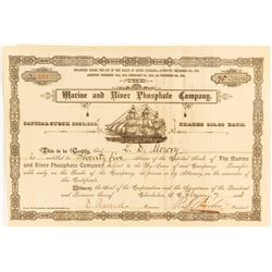 Marine & River Phosphate Company Stock issued to Blockade Runner, 1883