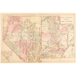 1881 County and Township Map of Utah and Nevada