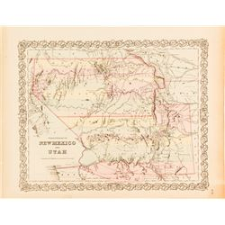 Colton Map of Territories of New Mexico and Utah