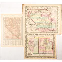 County Map of Utah/Nevada; Territories of New Mexico/Utah