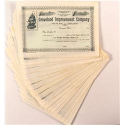 Groveland Improvement Co. Stock Certificates (21) (Dungeness, Washington)