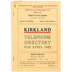 Kirkland, Washington 1922 Telephone Directory