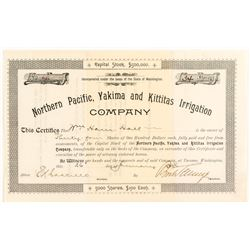 Northern Pacific, Yakima and Kittitas Irrigation Co. Stock Certificate, 1894