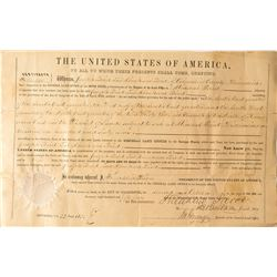 1854 Mineral Point, Wisconsin Land Patent