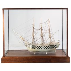 Spectacular 19th Century Model of Henry VIII War Ship in Ivory
