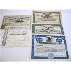 Assorted Stock Certificates (5)
