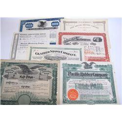 Seven Miscellaneous US Stock Certificates