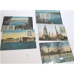 Five Turkey Postcards Stamped on Front