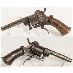 Unmarked Lefaucheux 6 shot .32 cal. Pistol