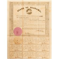 Alabama Civil War $500 Bond, Act of 1861
