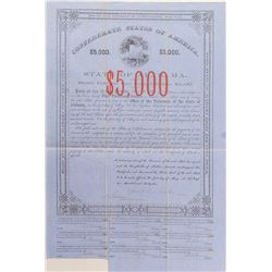 Rare $5,000 Confederate States of America Bond, Act of 1861