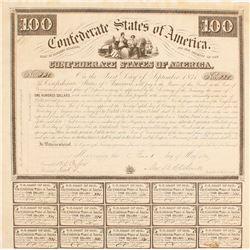 Confederate Bond, $100, Act of 1863