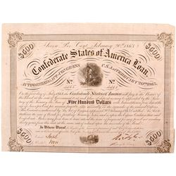 Confederate Bond, $500, Act of 1863