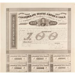 Confederate States of America $100 Bond Act of 1863