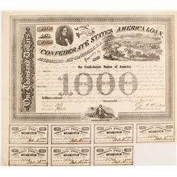 Confederate States of America $1000 Bond Act of 1863