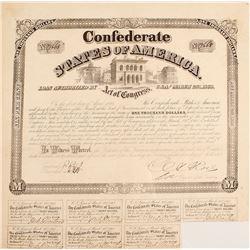 Confederate $1,000 Bond, Act of 1863
