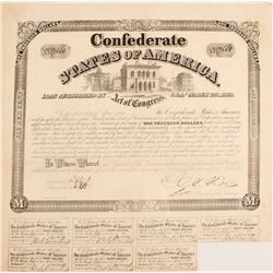 Confederate $1,000 Bond, Act of 1863