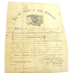 Civil War Discharge Paper