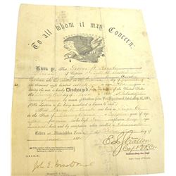 Civil War Discharge Paper