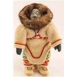 Eskimo Doll with Carved Stone Face and Fur Lined Parka Hood