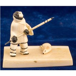 Ivory Art: Eskimo with Seal