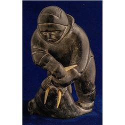 Primitive Eskimo Soapstone Carving with Ivory