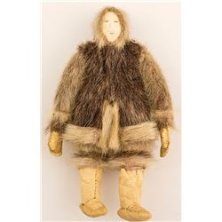 Small Eskimo Doll with Seal Skin Construction and Ivory Face